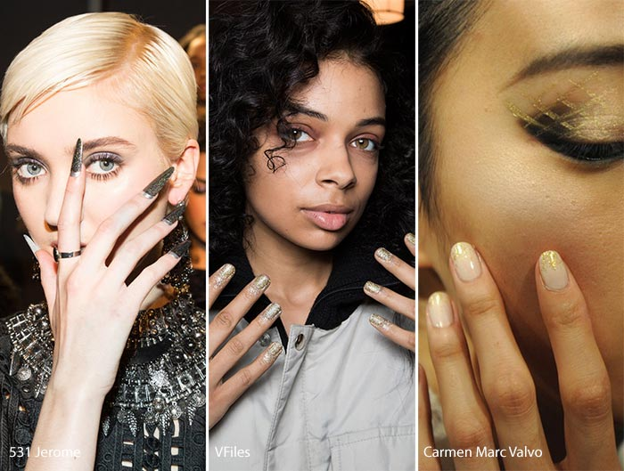 nyfw fall 2016-2017 glitter nail trend