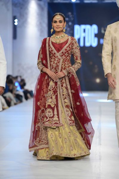 pakistani designer red and gold bridal lehenga 2016-2017