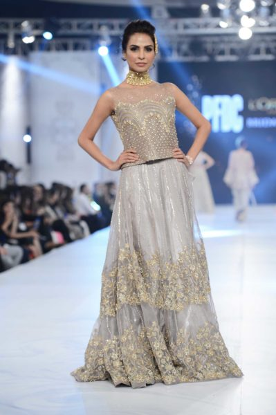 pakistani designer grey bridal dress 2016-2017