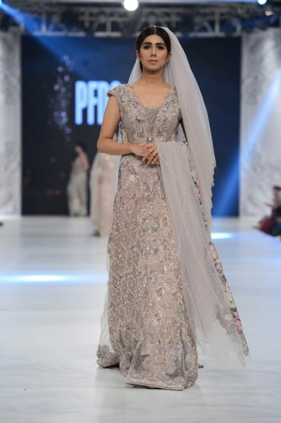 pakistani designer embellished grey bridal gown 2016-2017