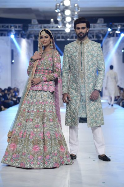 pakistani designer pink heavy embroidery bridal lehenga 2016-2017