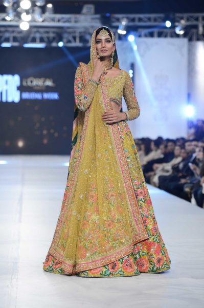 pakistani designer yellow bridal dress 2016-2017