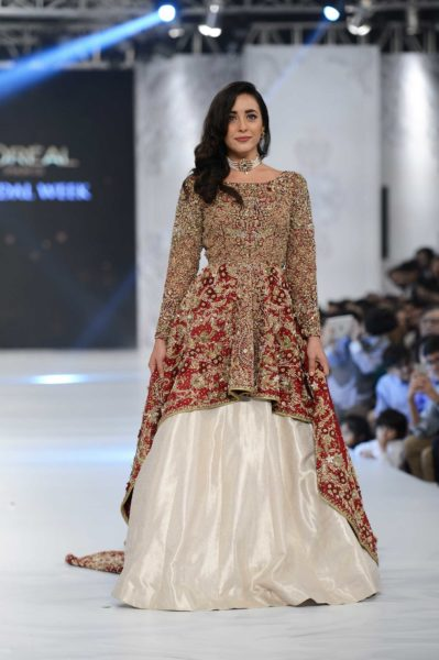 pakistani designer maroon bridal dress 2016-2017