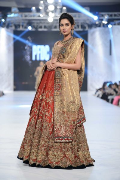 pakistani designer orange and rust bridal lehnga 2016-2017