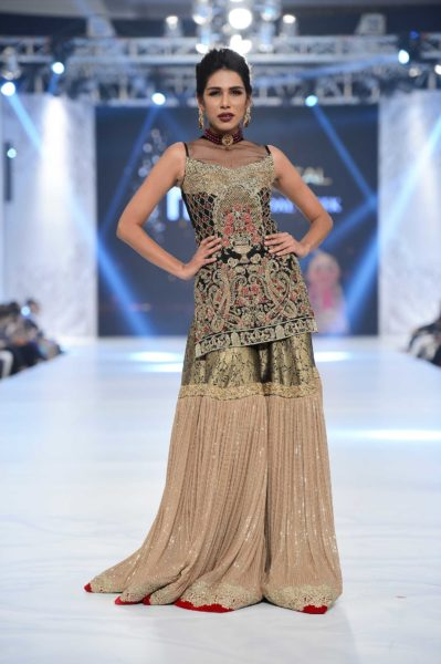 pakistani designer green bridal sharara 2016-2017