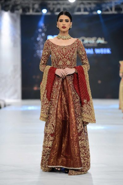 pakistani designer maroon and golden bridal dress 2016-2017