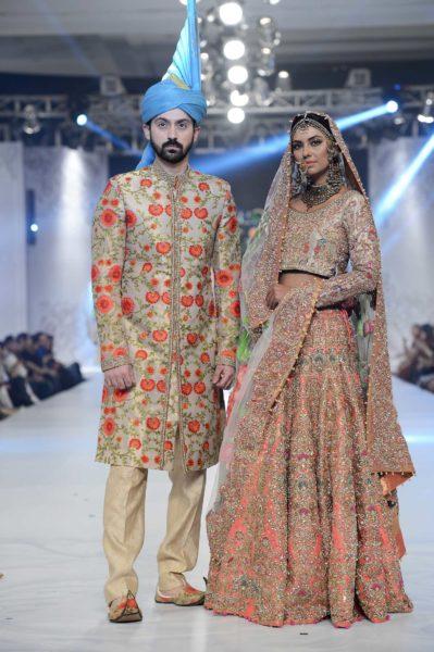 pakistani designer peach bridal lehenga 2016-2017