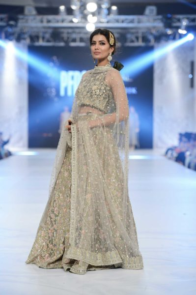pakistani designer grey and gold bridal lehenga 2016-2017