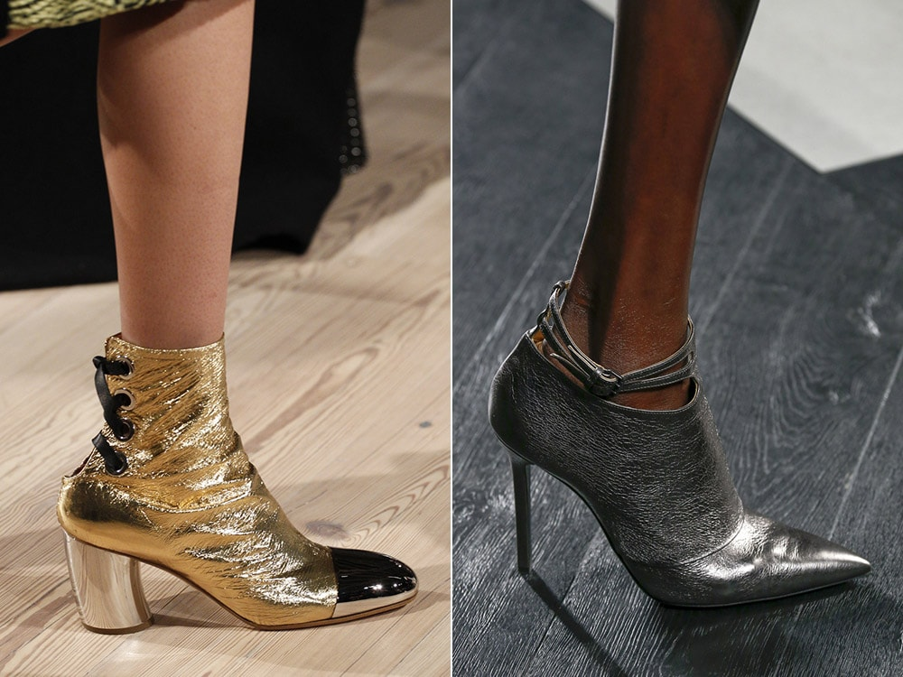 Top winter fall 2016-2017 metallic gold and silver shoes trend