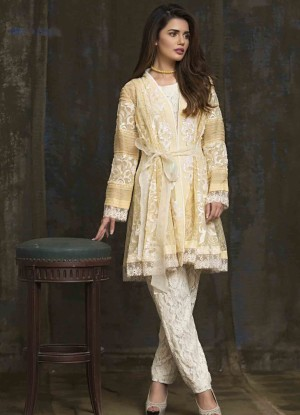 lime yellow pakistani party wear dress 2016-2017