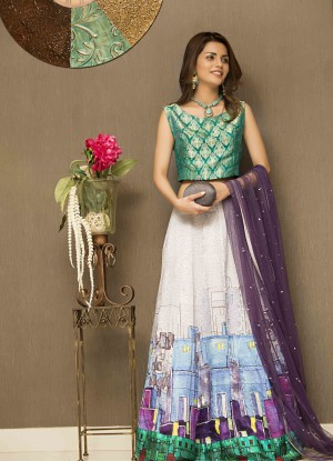 green pakistani designer party wear dress 2016-2107