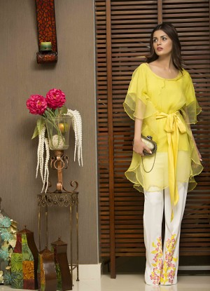 yellow pakistani party wear dress 2016-2017