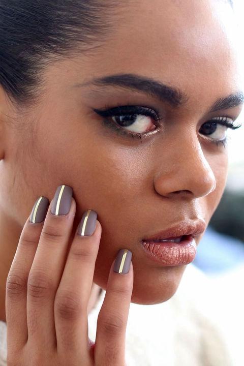 nyfw fall 2016-2017 laquan smith grey nails