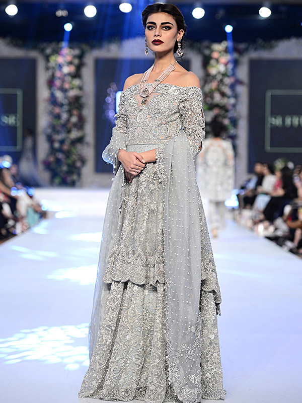 Pakistani Designer Walima Dresses 2017 in grey color