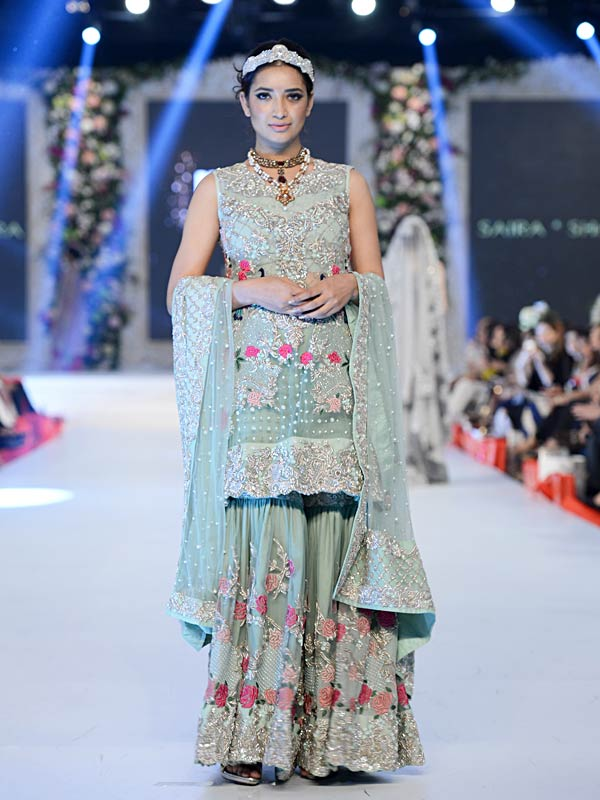 Pakistani Designer Walima Dresses 2017 in sky blue and pink color