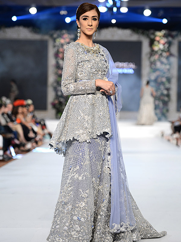 Pakistani Designer Walima Dresses 2017 in sky blue color