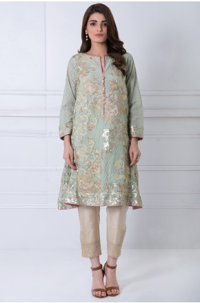 Khaadi pakistani party wear light grey dress 2016-2017