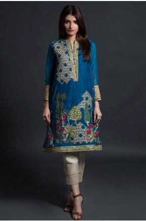 Khaadi pakistani party wear royal blue dress 2016-2017
