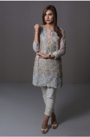 Khaadi pakistani party wear sky blue dress 2016-2017