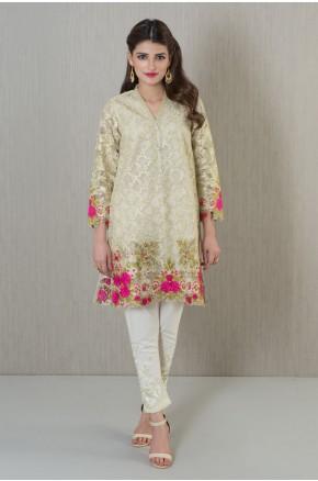 Khaadi pakistani party wear cream dress 2016-2017