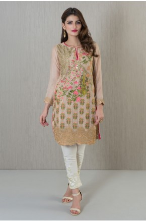 Khaadi pakistani party wear peach brown dress 2016-2017