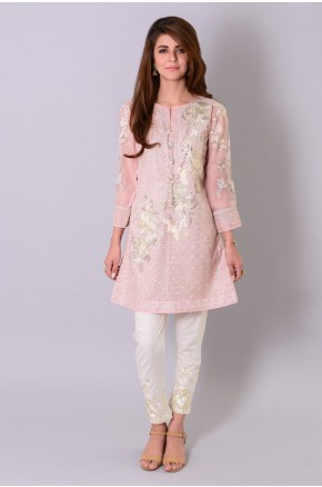 Khaadi pakistani party wear pink dress 2016-2017