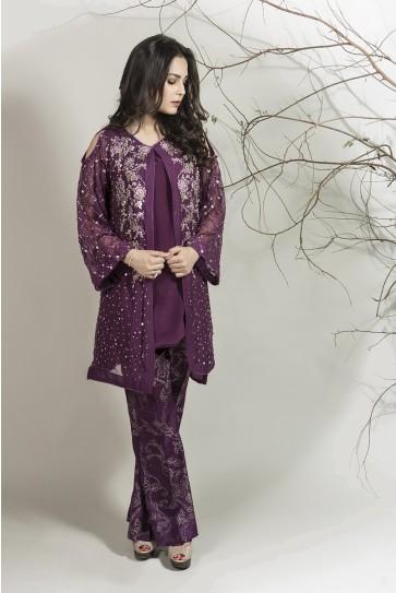 Maria B pakistani party wear deep purple dress 2016-2017