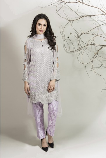 Maria B pakistani party wear lilac dress 2016-2017