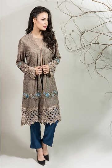 Maria B pakistani party wear grey dress 2016-2017