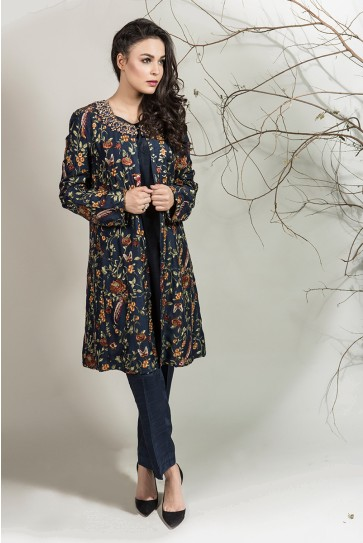 Maria B pakistani party wear navy blue dress 2016-2017