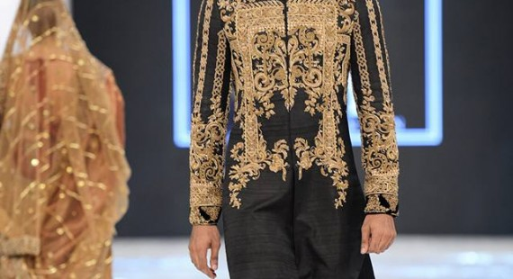 HSY black embroidered sherwani designs 2016-2017