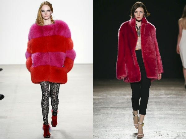 top winter fall 2016-2017 red and pink fur coat trend for women