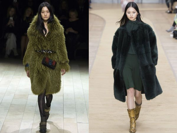 top winter fall 2016-2017 green fur coat trend for women