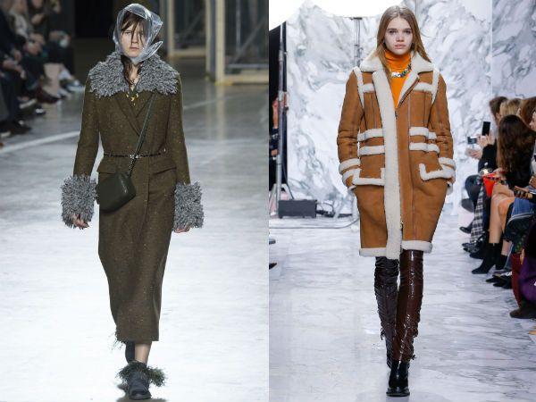 top winter fall 2016-2017 brown sheepskin coat trend for women