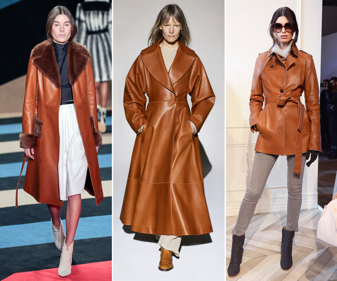 top winter fall 2016-2017 tan leather coat trend for women