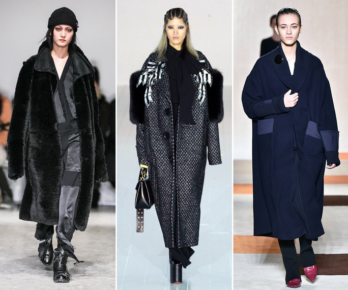 top winter fall 2016-2017 black and blue oversized coat trend for women