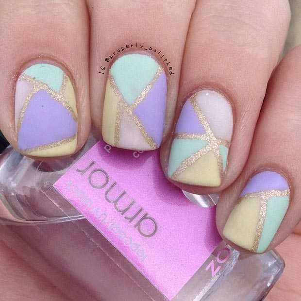 gold and pastel manicure ideas 2017 for spring/summer