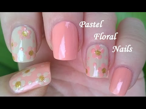 floral pink pastel manicure ideas 2017 for spring/summer