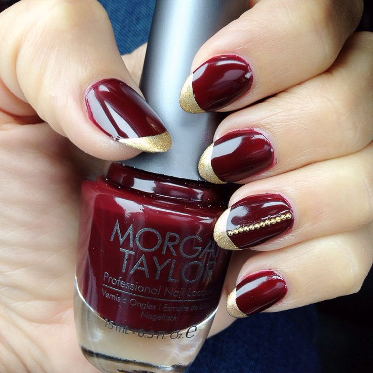 red and gold French nails for spring/ summer 2017