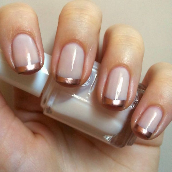 nude and gold French nails for spring/ summer 2017