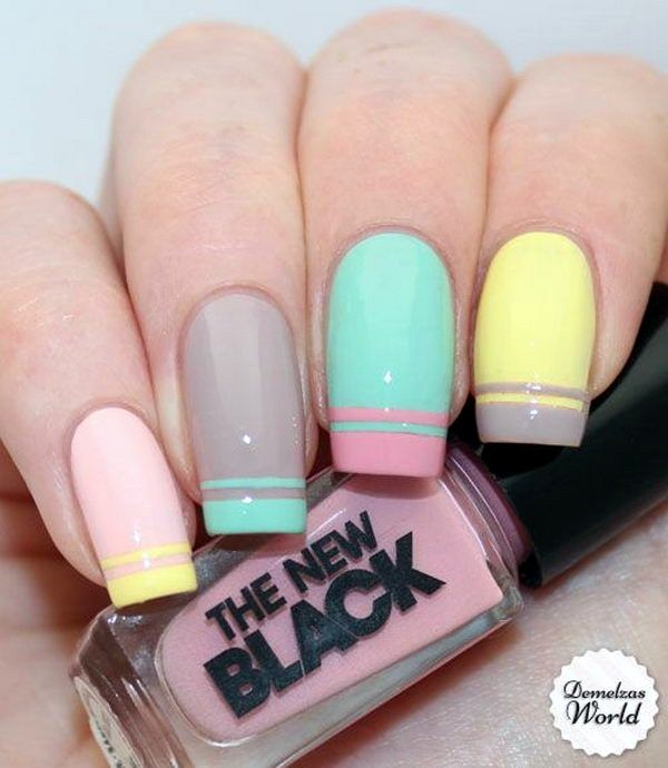 stylish pastel manicure ideas 2017 for spring/summer