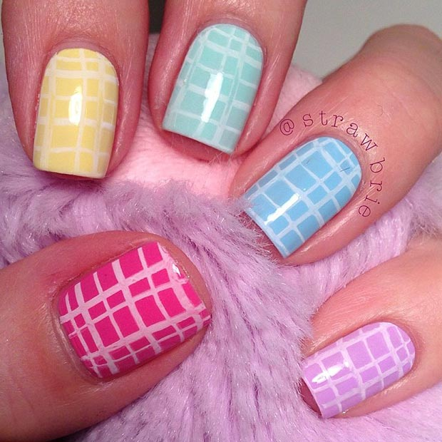 geometric pastel manicure ideas 2017 for spring/summer