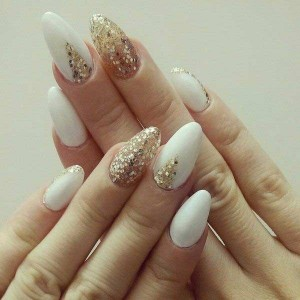 new white and golden eid party nail art designs 2017 for pakistani girls