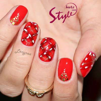 best red eid party nail art designs 2017 for pakistani girls