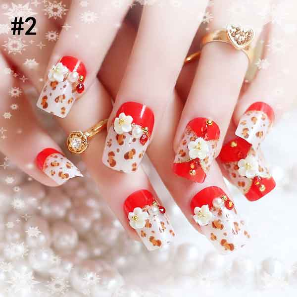 Latest Red And White Combination Eid Party Nail Art Designs 2017 For Pakistani Girls