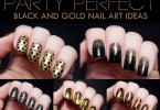 new black and golden combination eid party nail art designs 2017 for pakistani girls