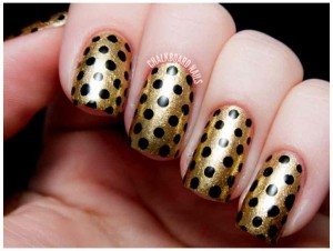 golden and black eid party nail art designs 2017 for pakistani girls