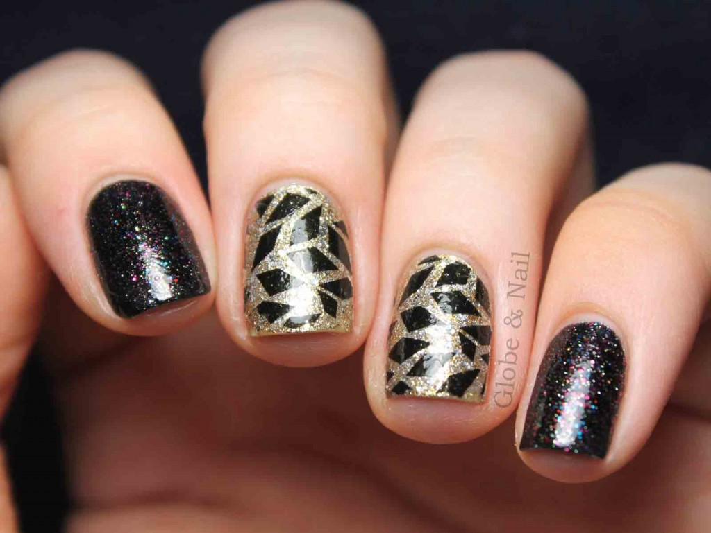new black and golden eid party nail art designs 2017 for pakistani girls