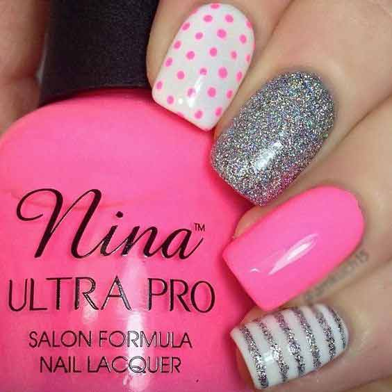 new white pink eid party nail art designs 2017 for pakistani girls