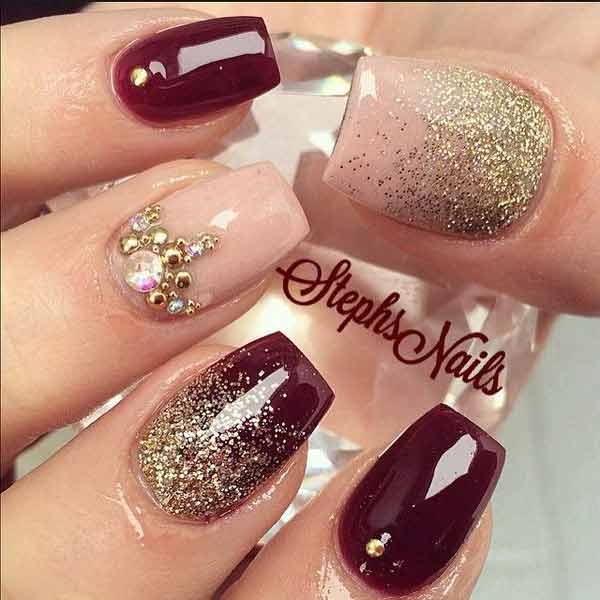 best magenta and golden eid party nail art designs 2017 for pakistani girls